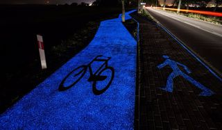 Glow in the dark cycle path improves safety